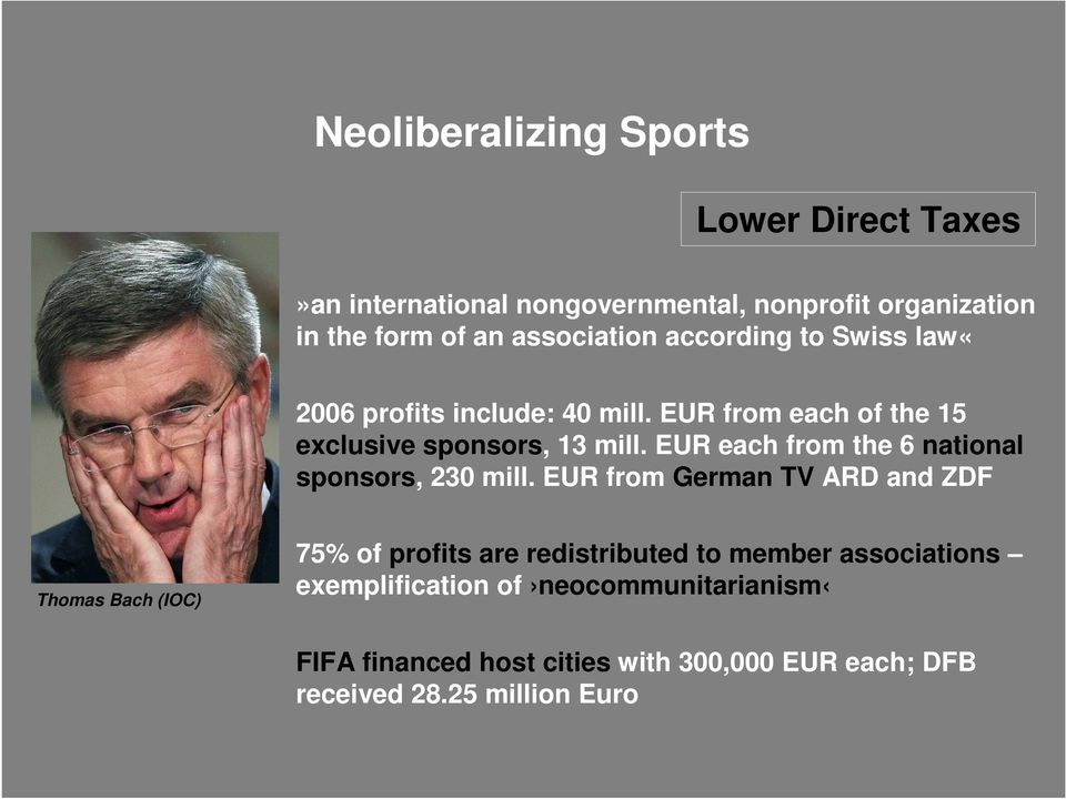EUR each from the 6 national sponsors, 230 mill.