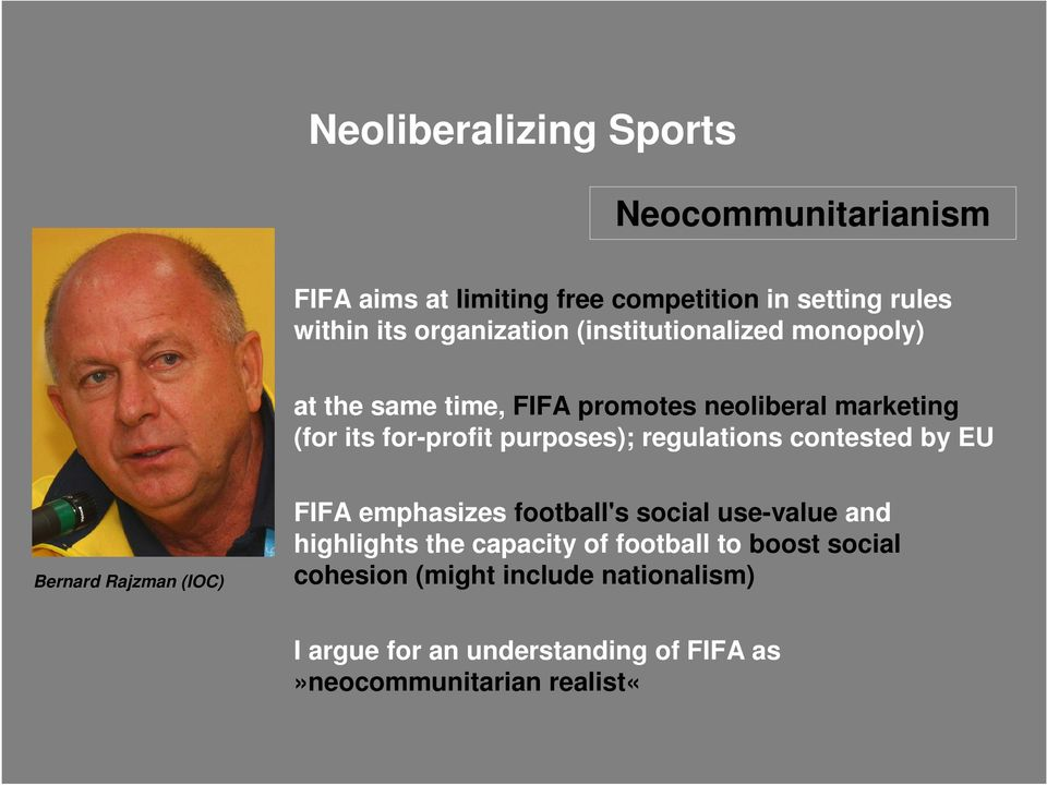purposes); regulations contested by EU Bernard Rajzman (IOC) FIFA emphasizes football's social use-value and highlights