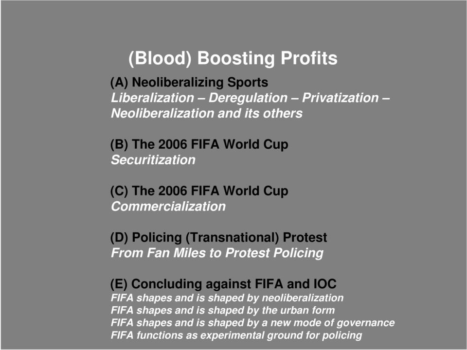 From Fan Miles to Protest Policing (E) Concluding against FIFA and IOC FIFA shapes and is shaped by neoliberalization FIFA shapes