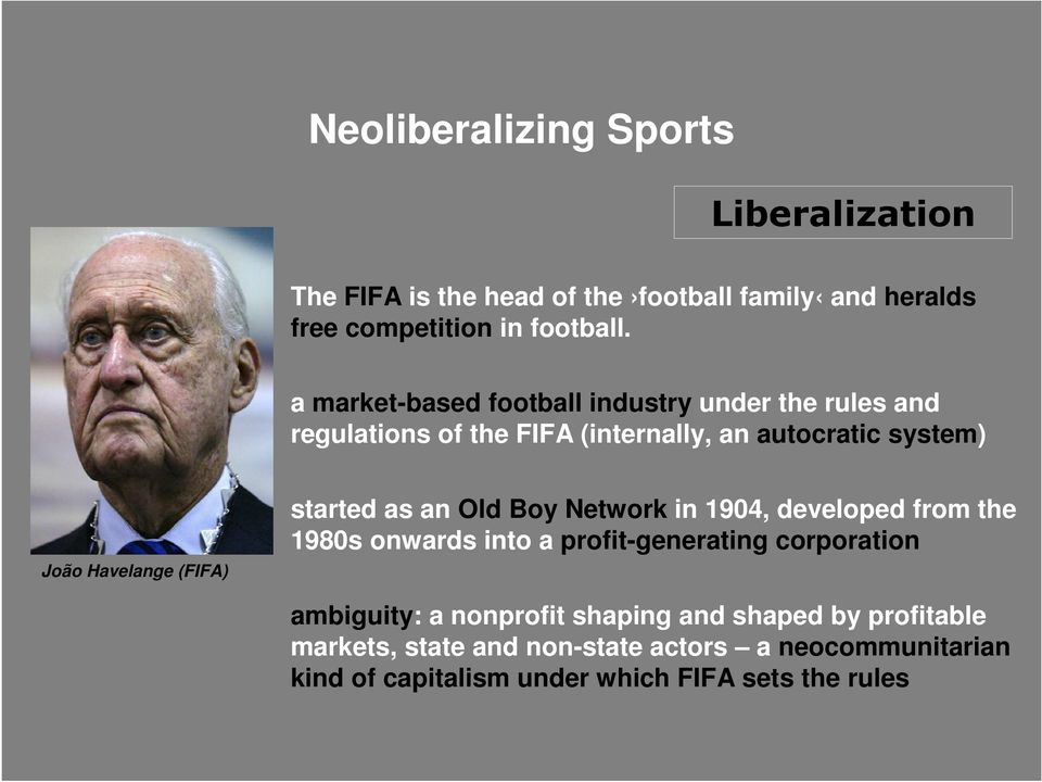 (FIFA) started as an Old Boy Network in 1904, developed from the 1980s onwards into a profit-generating corporation ambiguity: a