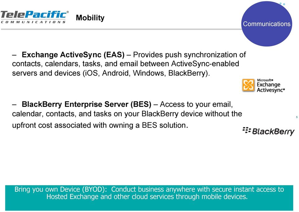 BlackBerry Enterprise Server (BES) Access to your email, calendar, contacts, and tasks on your BlackBerry device without the upfront
