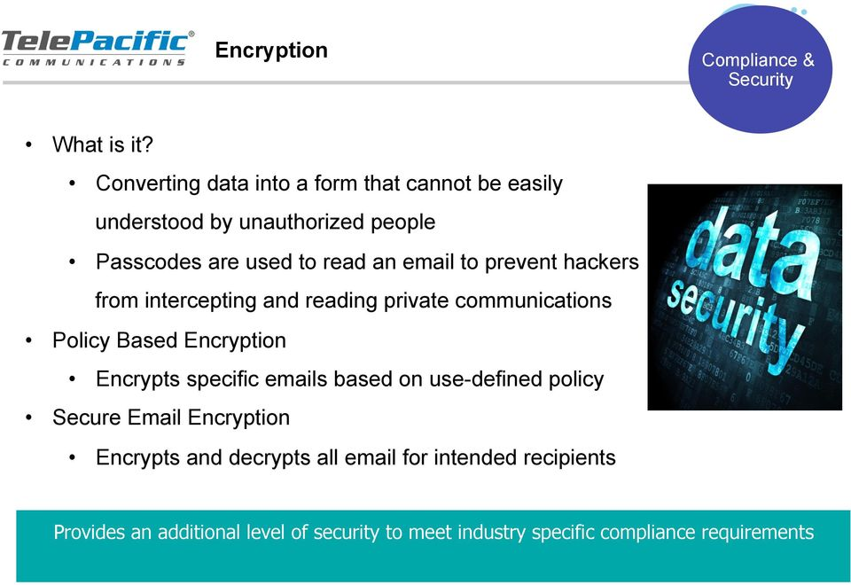 to prevent hackers from intercepting and reading private communications Policy Based Encryption Encrypts specific emails