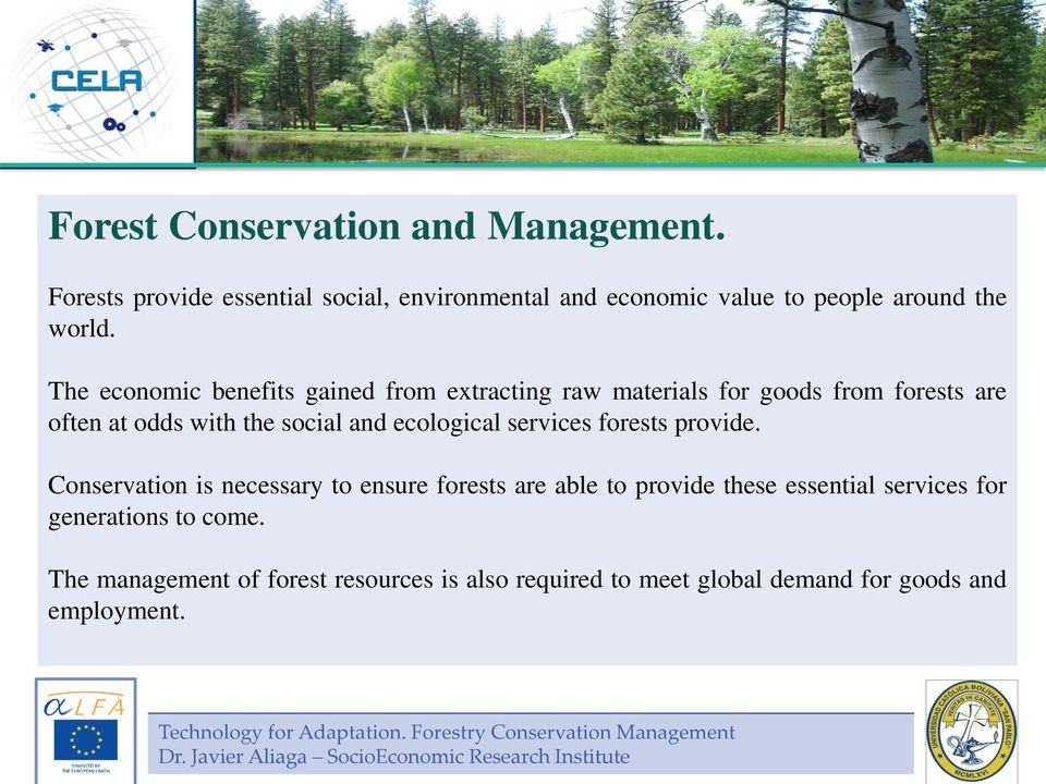 provide. Conservation is necessary to ensure forests are able to provide these essential services for generations to come.
