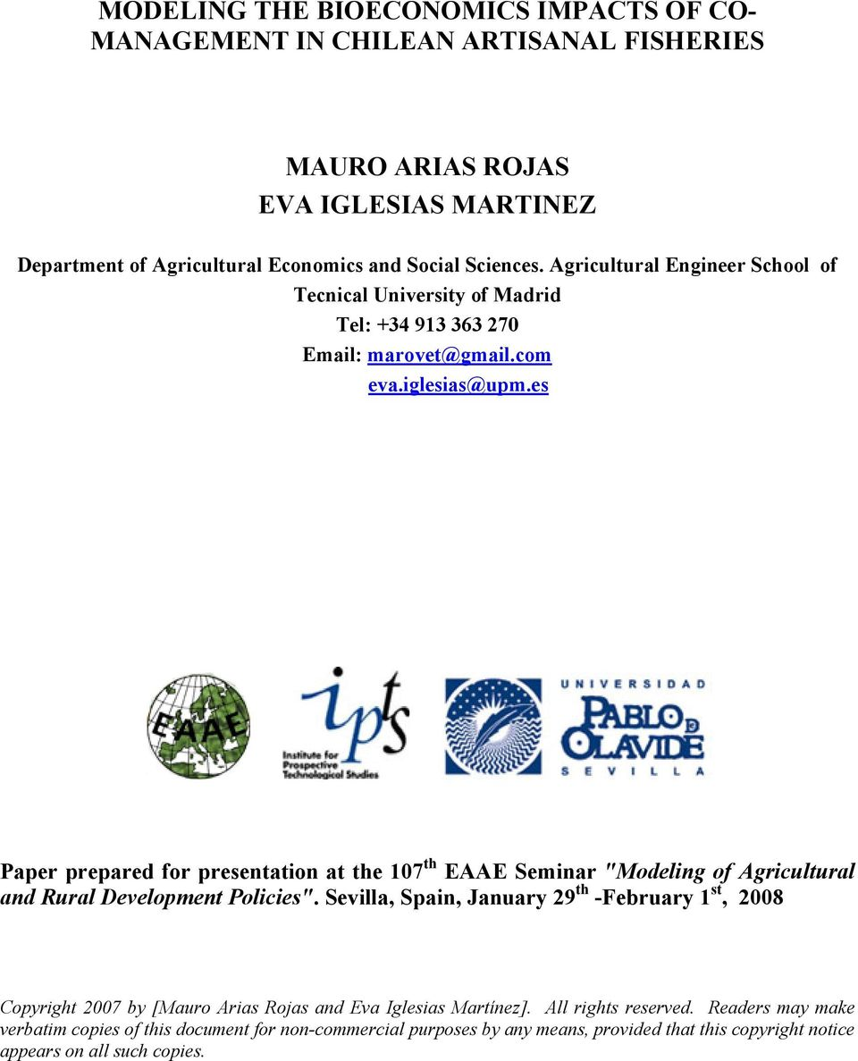 "es Paper prepared for presenaion a he 107 h EAAE Seminar ""Modeling of Agriculural and Rural Developmen Policies""."