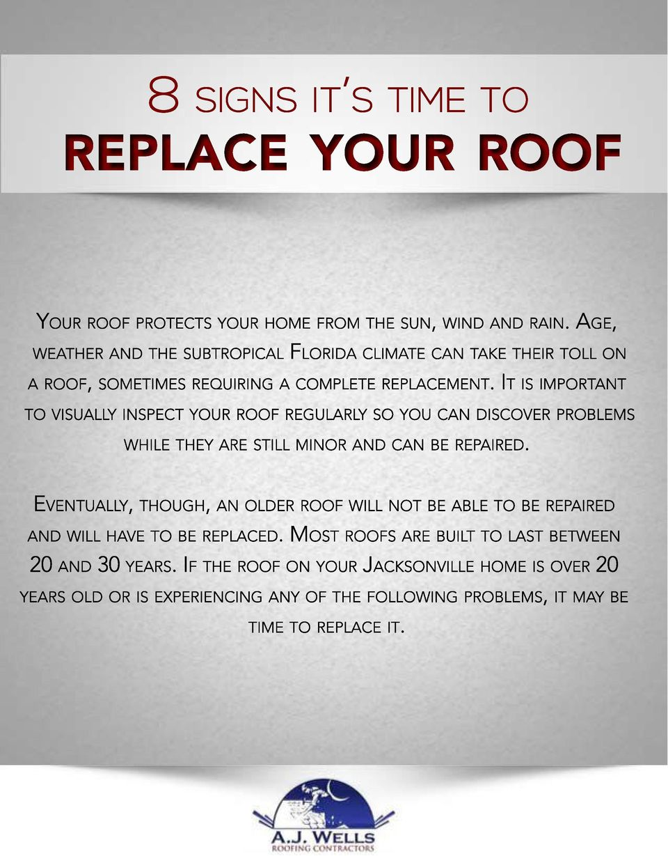 IT IS IMPORTANT TO VISUALLY INSPECT YOUR ROOF REGULARLY SO YOU CAN DISCOVER PROBLEMS WHILE THEY ARE STILL MINOR AND CAN BE REPAIRED.