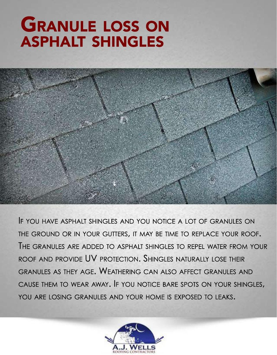THE GRANULES ARE ADDED TO ASPHALT SHINGLES TO REPEL WATER FROM YOUR ROOF AND PROVIDE UV PROTECTION.