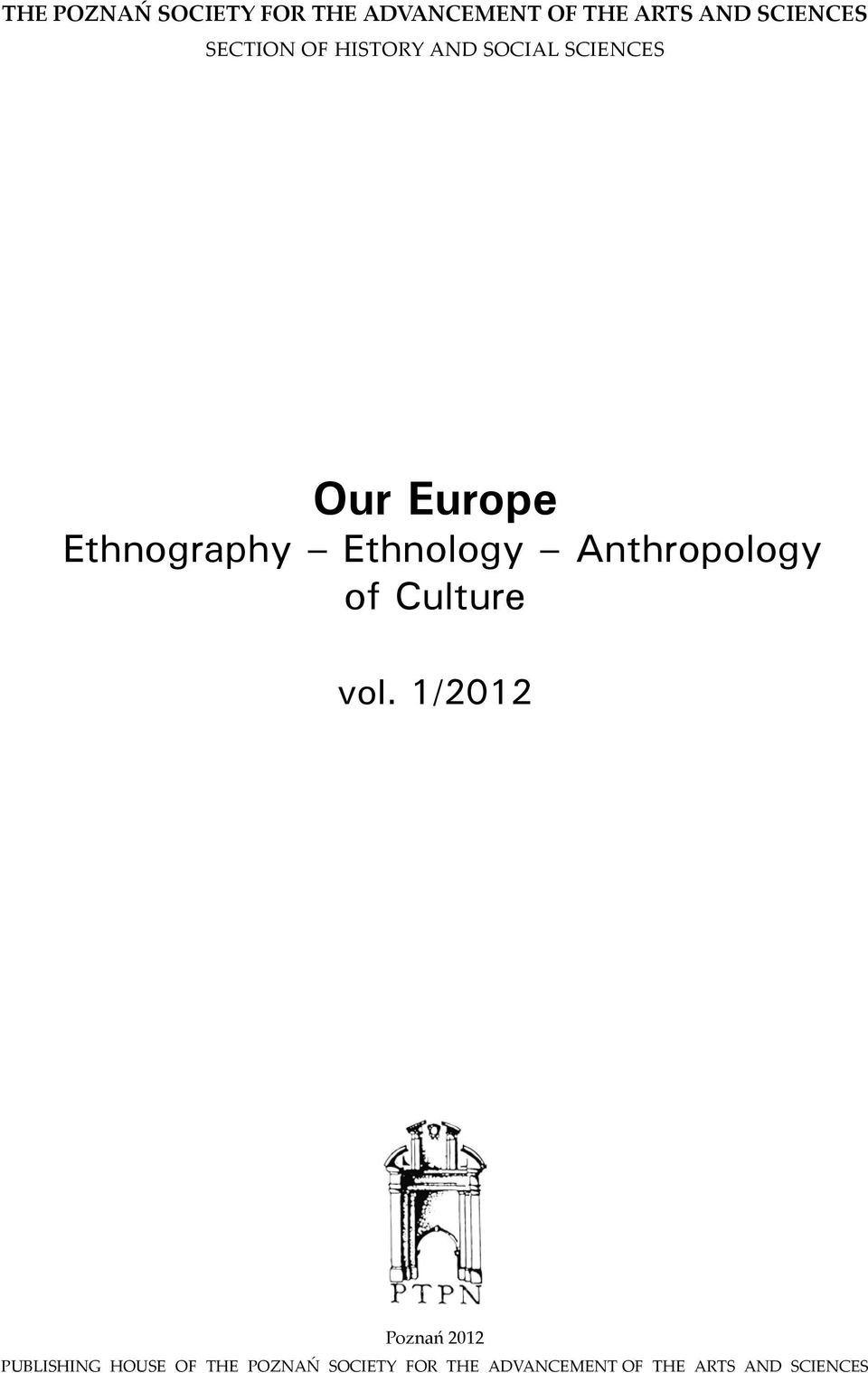 Ethnology Anthropology of Culture vol.
