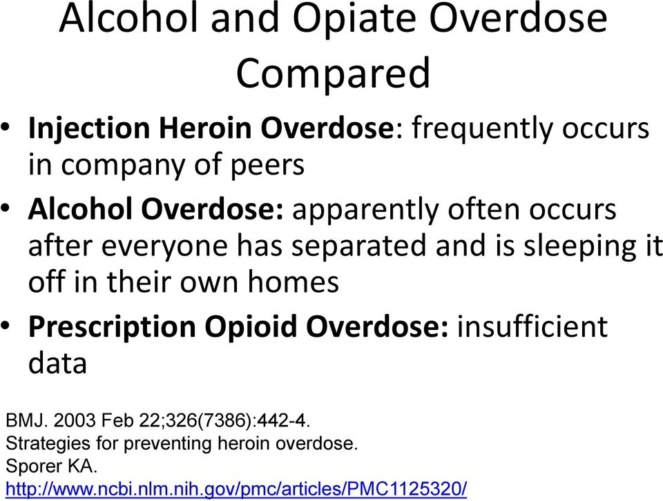 in their own homes Prescription Opioid Overdose: insufficient data BMJ. 2003 Feb 22;326(7386):442-4.