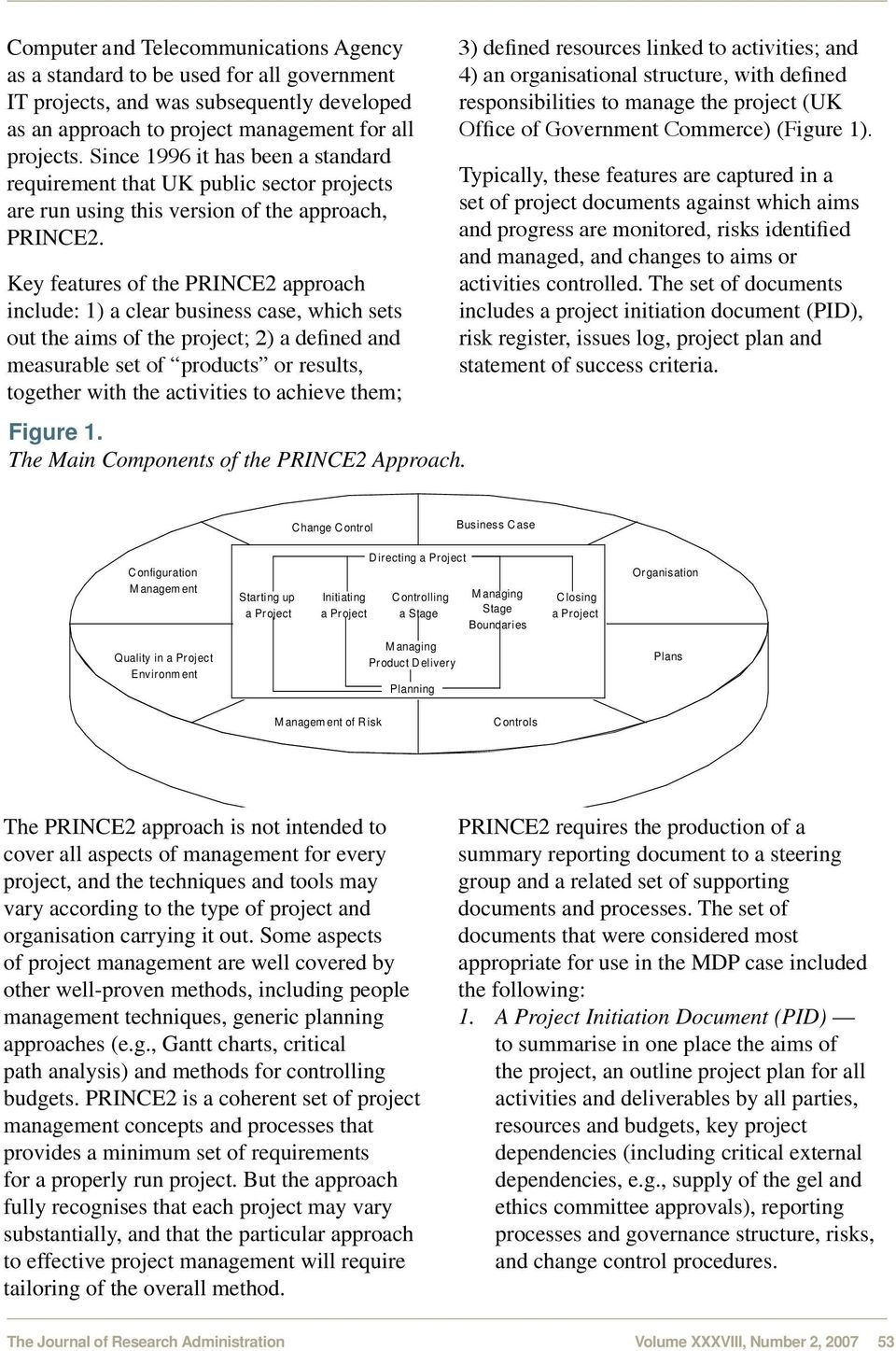 Key features of the PRINCE2 approach include: 1) a clear business case, which sets out the aims of the project; 2) a defined and measurable set of products or results, together with the activities to