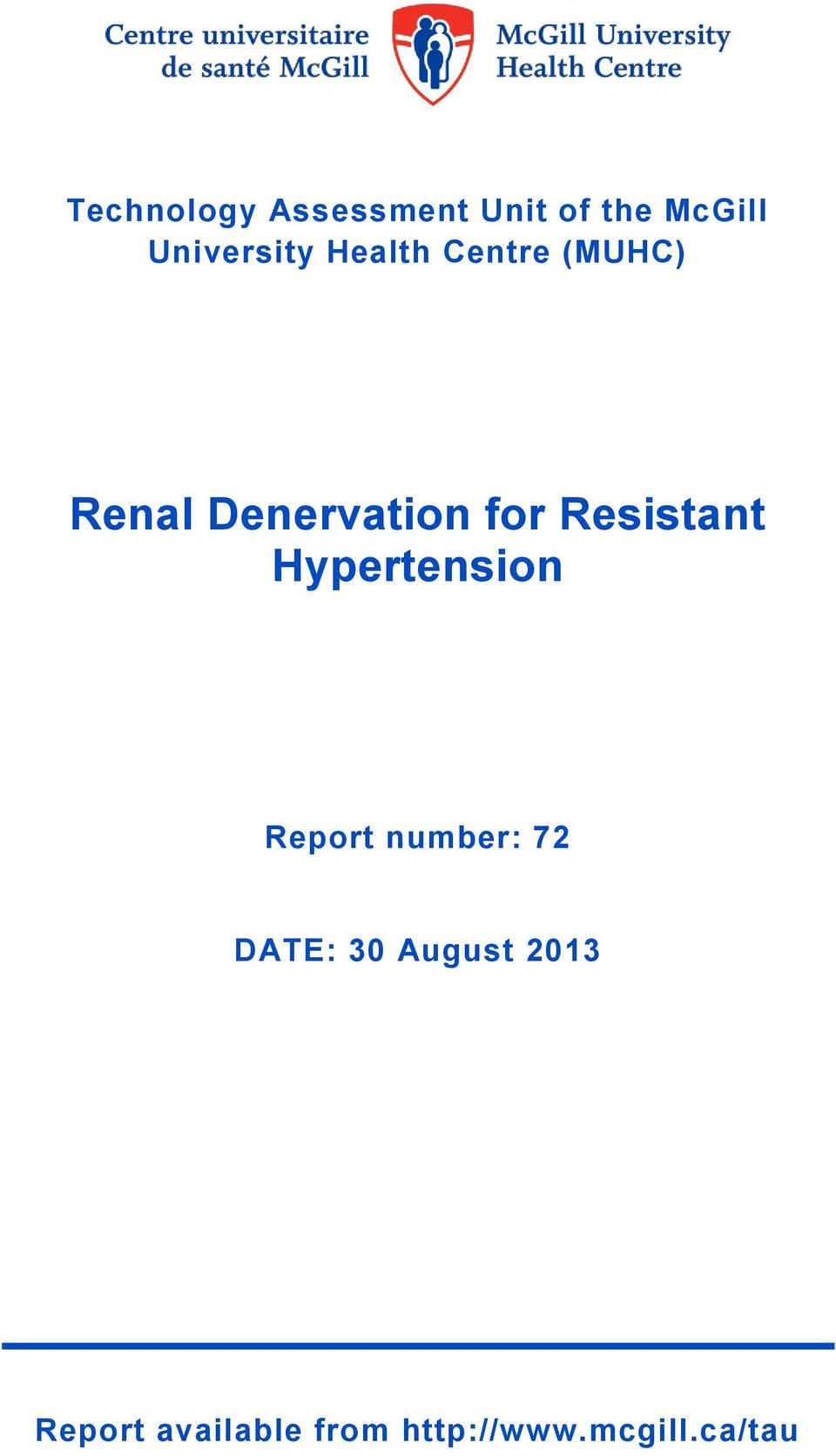 for Resistant Hypertension Report number: 72 DATE: