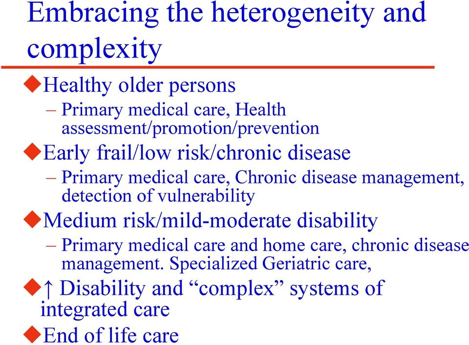 management, detection of vulnerability Medium risk/mild-moderate disability Primary medical care and home