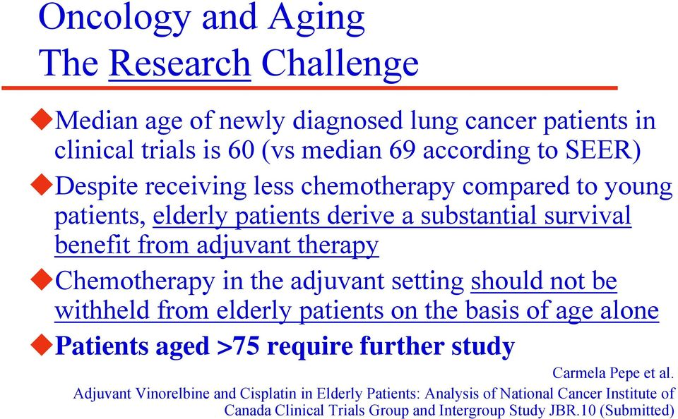 the adjuvant setting should not be withheld from elderly patients on the basis of age alone Patients aged >75 require further study Carmela Pepe et al.