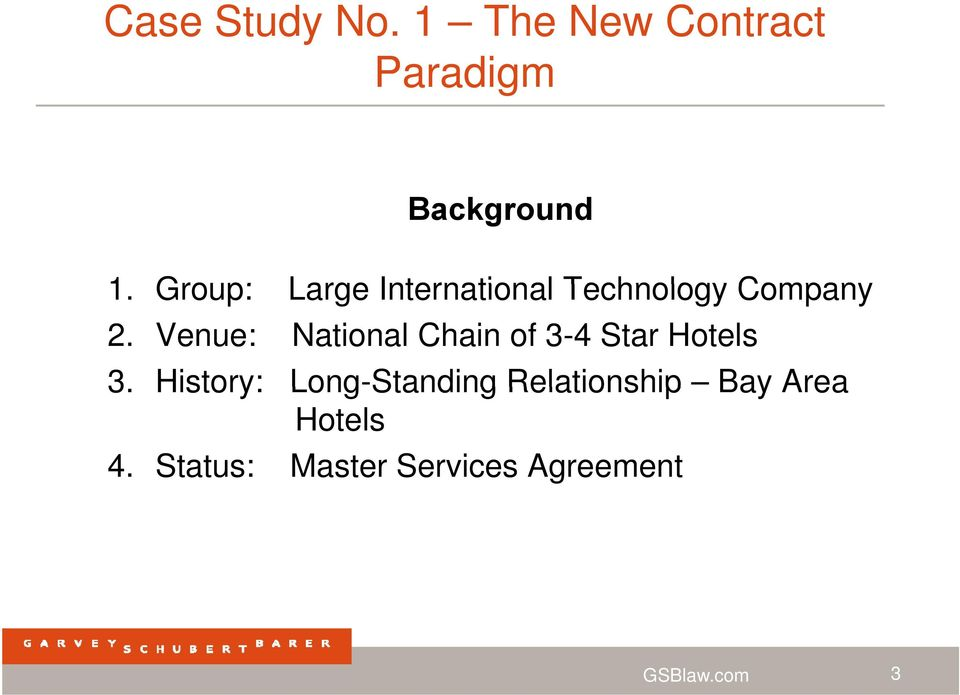 Venue: National Chain of 3-4 Star Hotels 3.