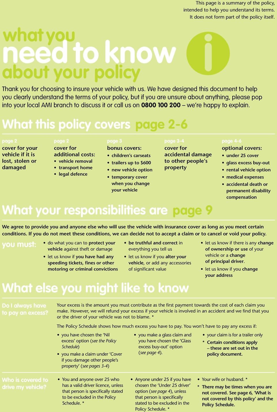 We have designed this document to help you clearly understand the terms of your policy, but if you are unsure about anything, please pop into your local AMI branch to discuss it or call us on 0800