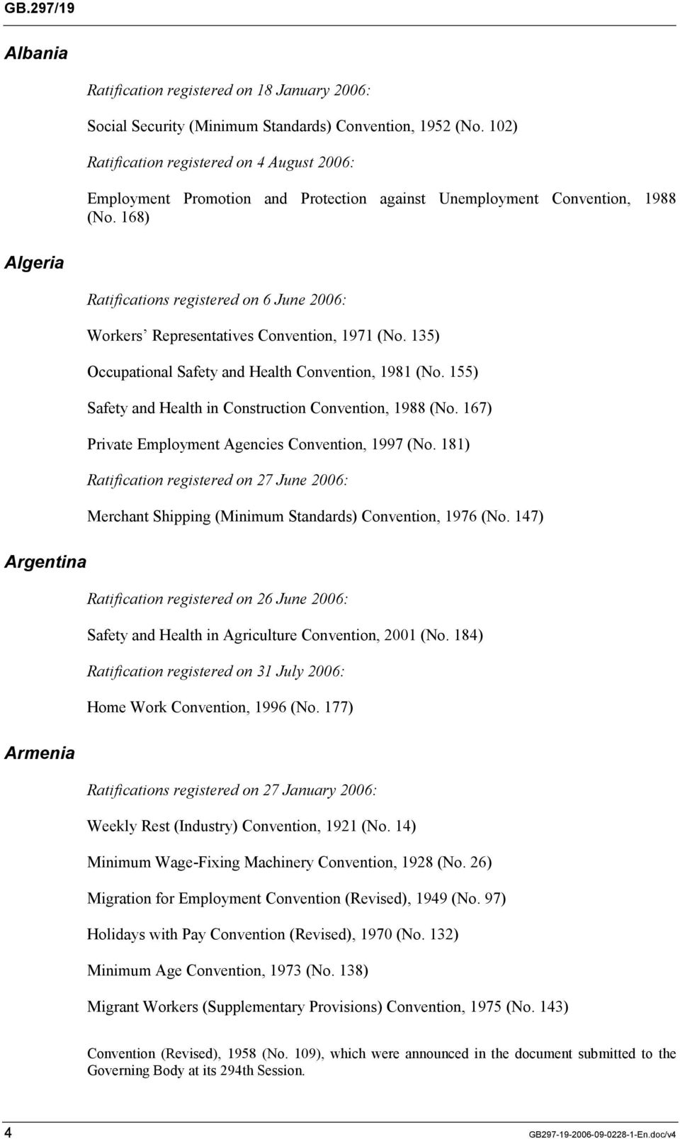 168) Algeria Ratifications registered on 6 June 2006: Workers Representatives Convention, 1971 (No. 135) Occupational Safety and Health Convention, 1981 (No.