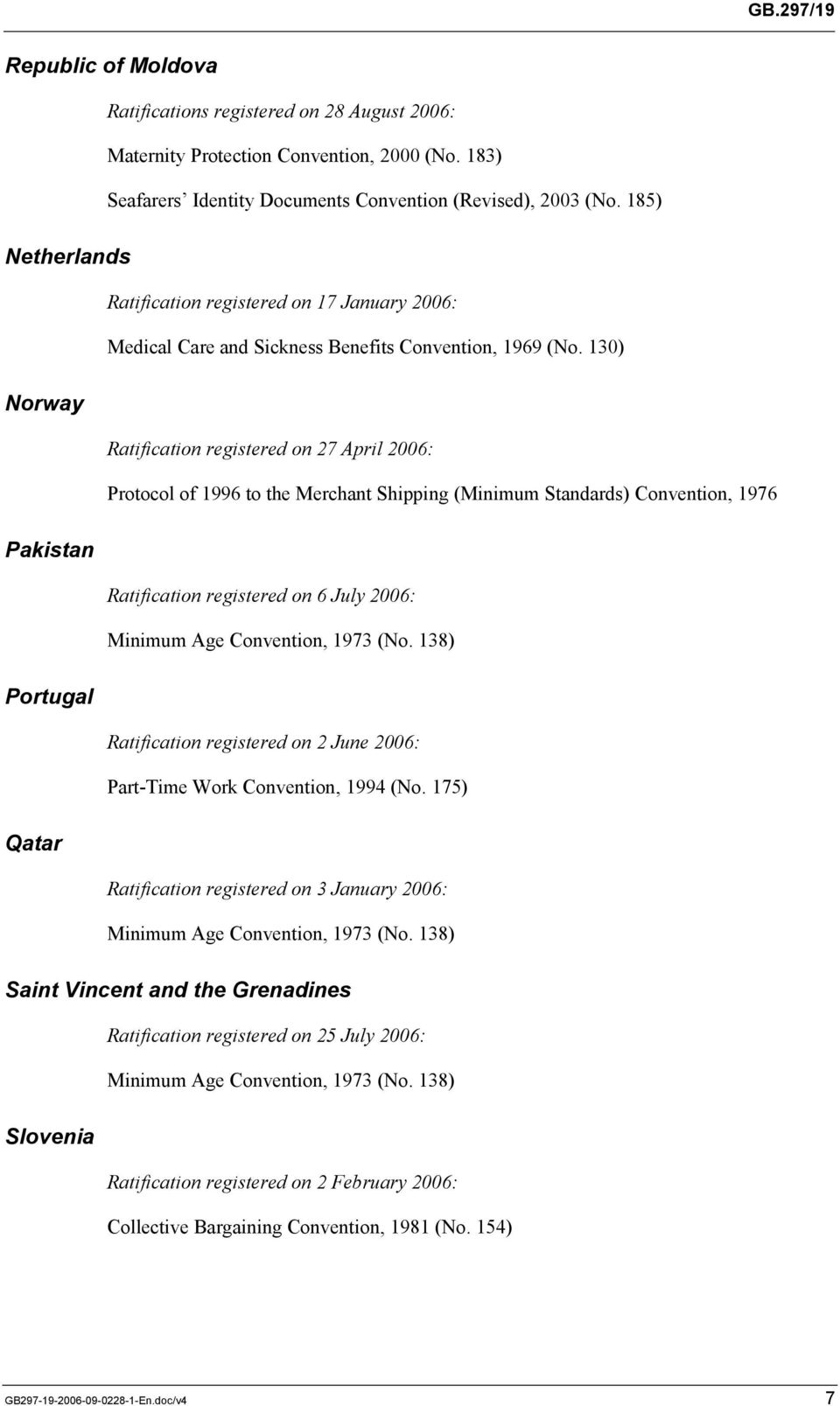 130) Norway Ratification registered on 27 April 2006: Protocol of 1996 to the Merchant Shipping (Minimum Standards) Convention, 1976 Pakistan Ratification registered on 6 July 2006: Minimum Age