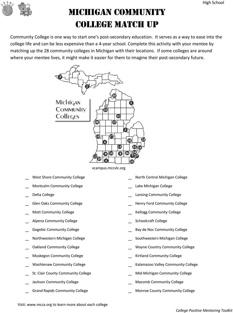 Complete this activity with your mentee by matching up the 28 community colleges in Michigan with their locations.