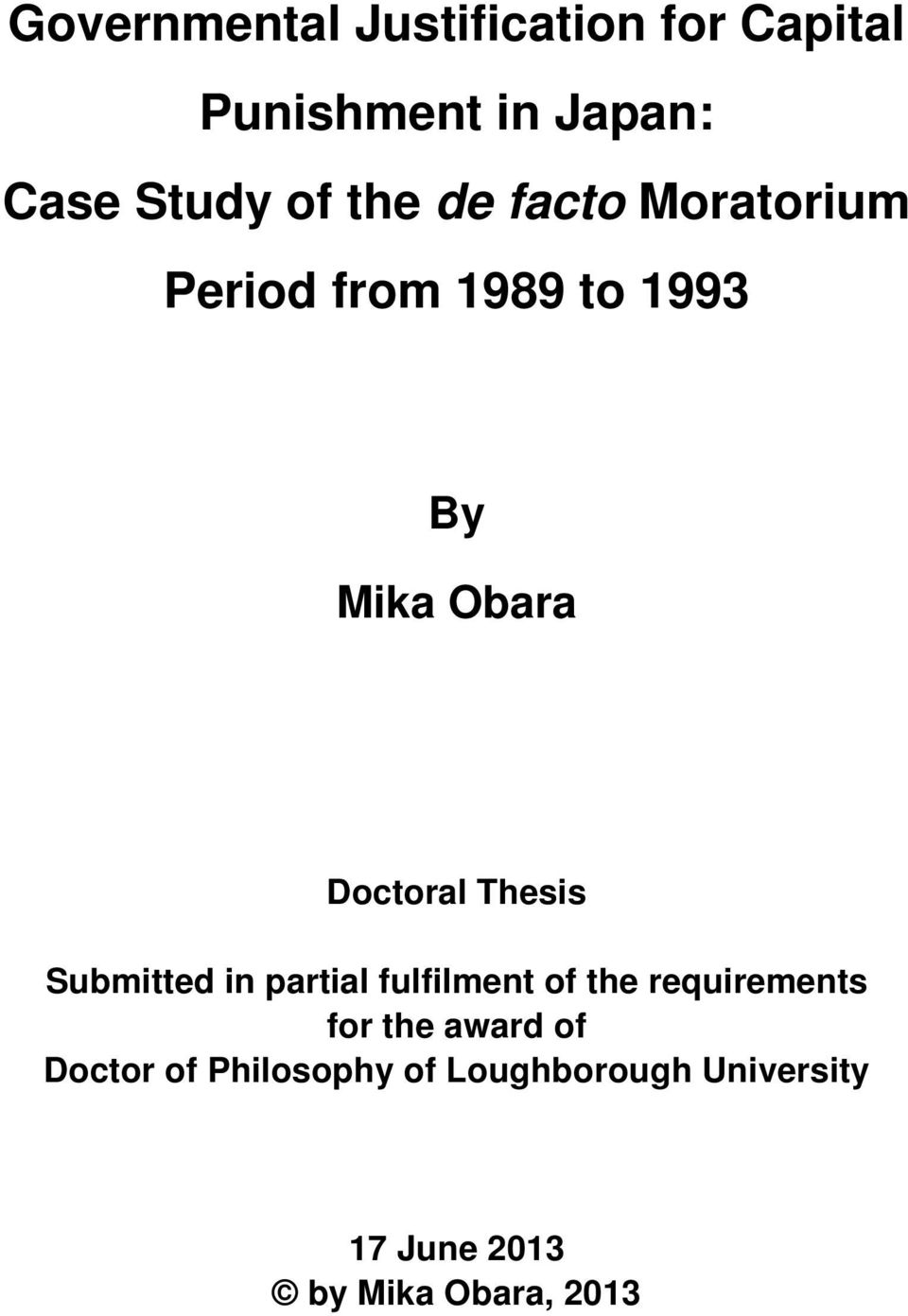 Thesis Submitted in partial fulfilment of the requirements for the award of