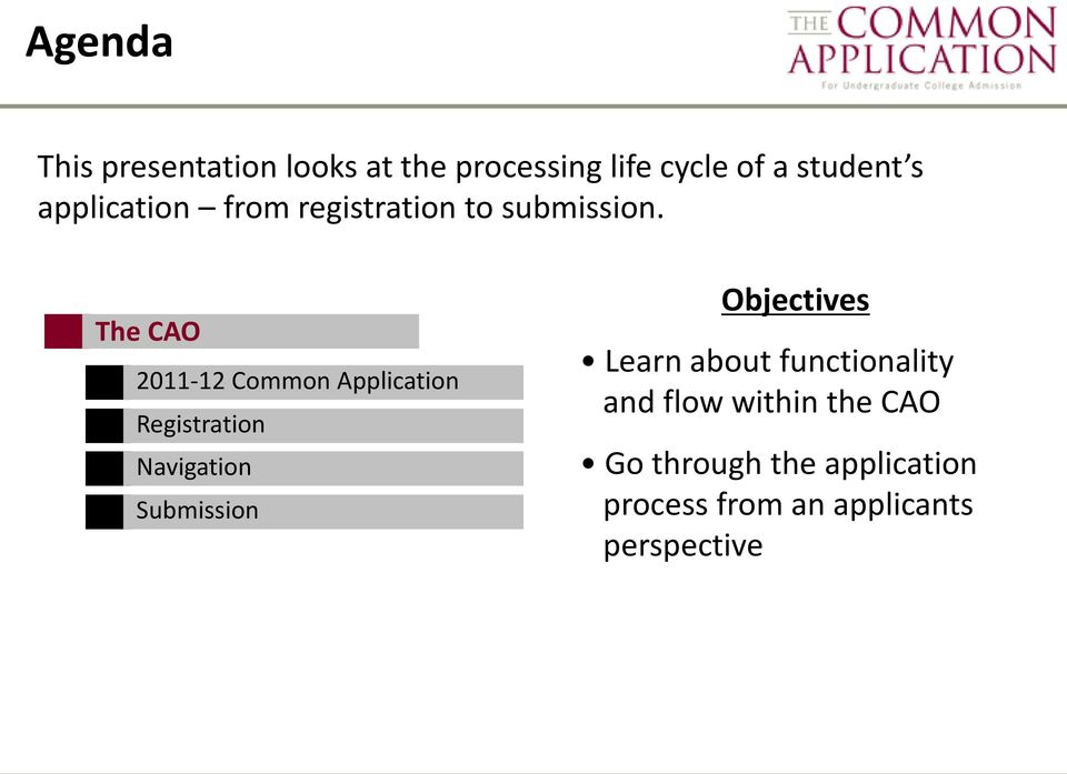 The CAO 2011-12 Common Application Registration Navigation Submission