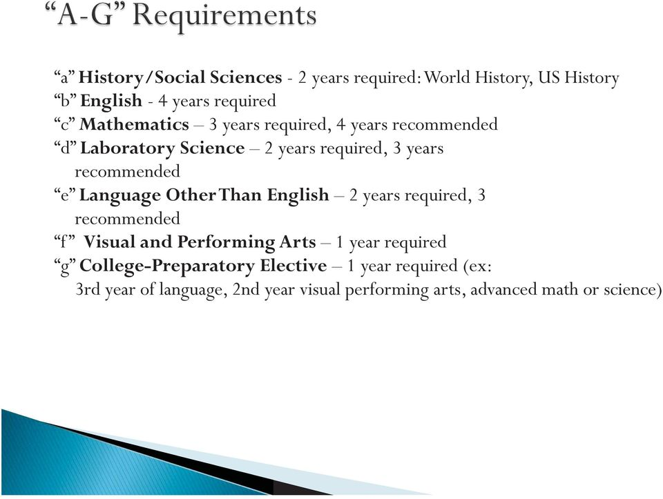 Language Other Than English 2 years required, 3 recommended f Visual and Performing Arts 1 year required g