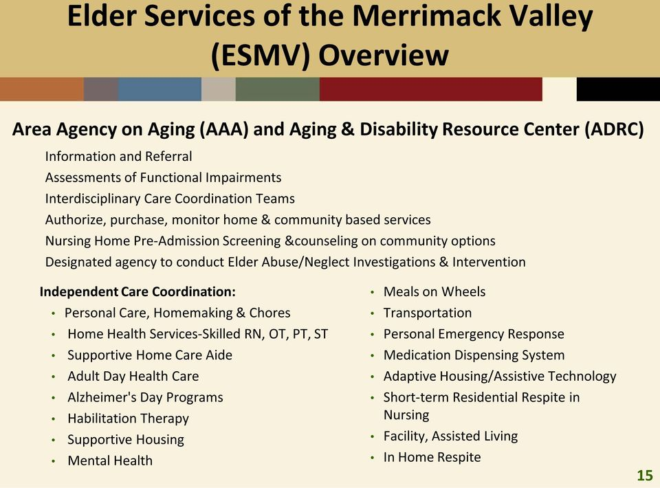 conduct Elder Abuse/Neglect Investigations & Intervention Independent Care Coordination: Personal Care, Homemaking & Chores Home Health Services-Skilled RN, OT, PT, ST Supportive Home Care Aide Adult