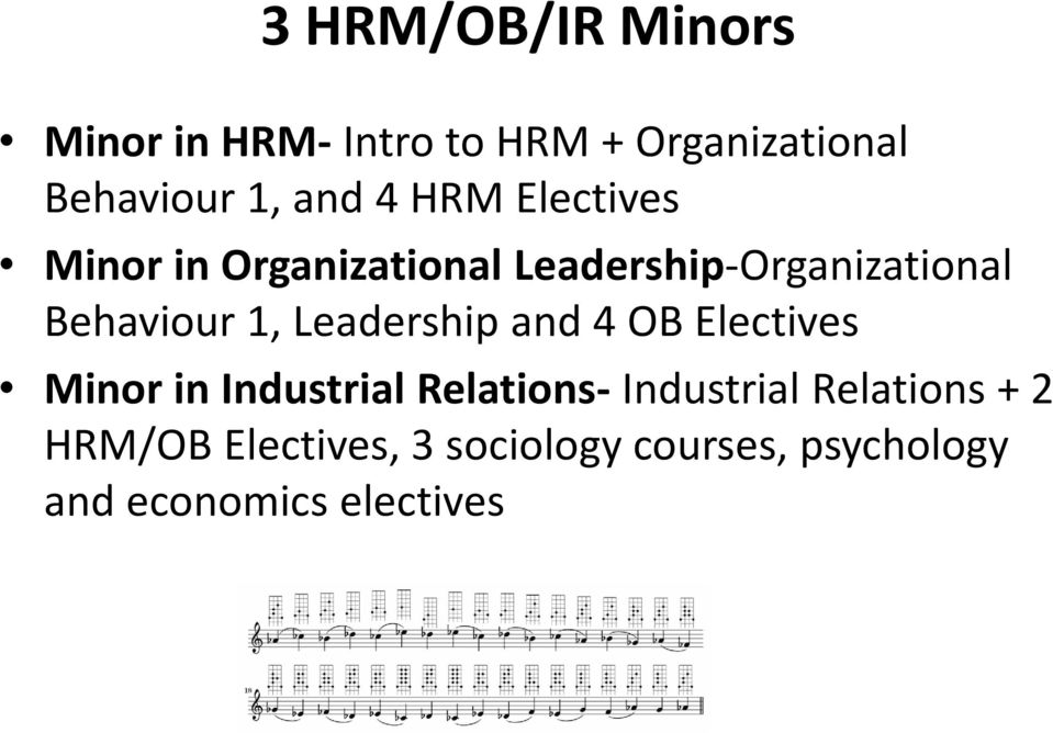 Leadership and 4 OB Electives Minor in Industrial Relations- Industrial