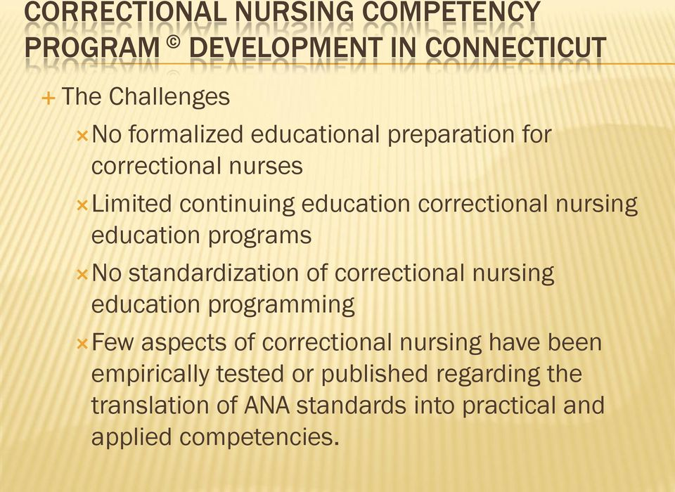 standardization of correctional nursing education programming Few aspects of correctional nursing have been