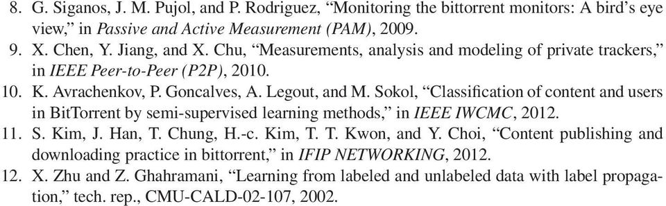 Sokol, Classification of content and users in BitTorrent by semi-supervised learning methods, inieeeiwcmc, 2012. 11. S. Kim, J. Han, T. Chung, H.-c. Kim, T. T. Kwon, and Y.