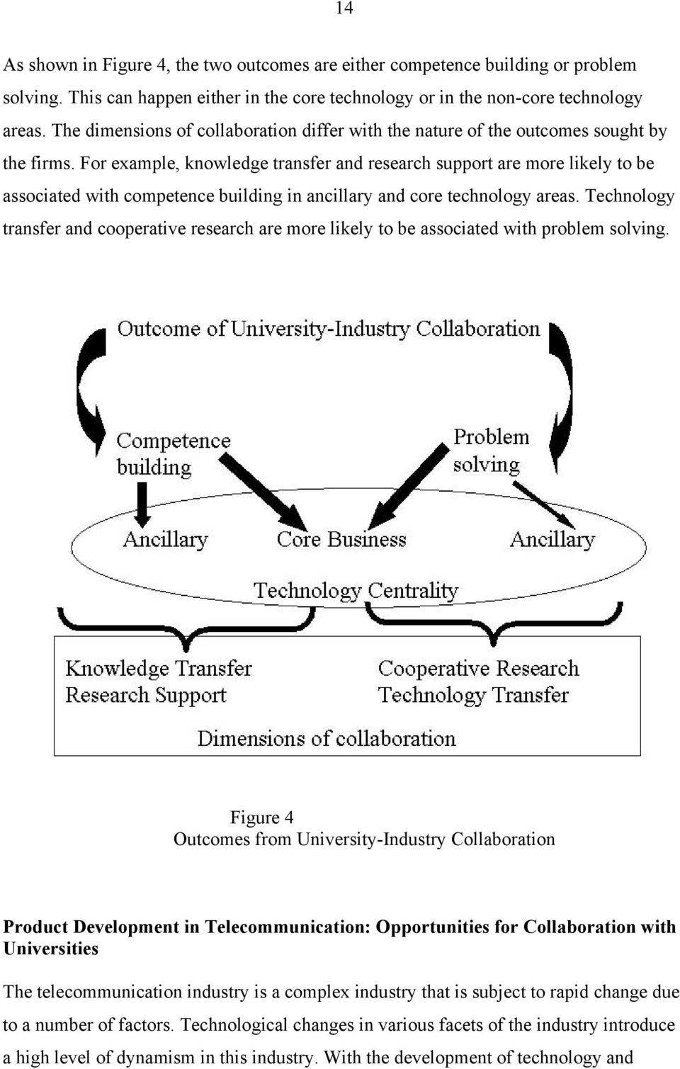For example, knowledge transfer and research support are more likely to be associated with competence building in ancillary and core technology areas.