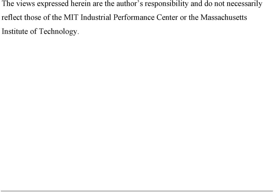 those of the MIT Industrial Performance
