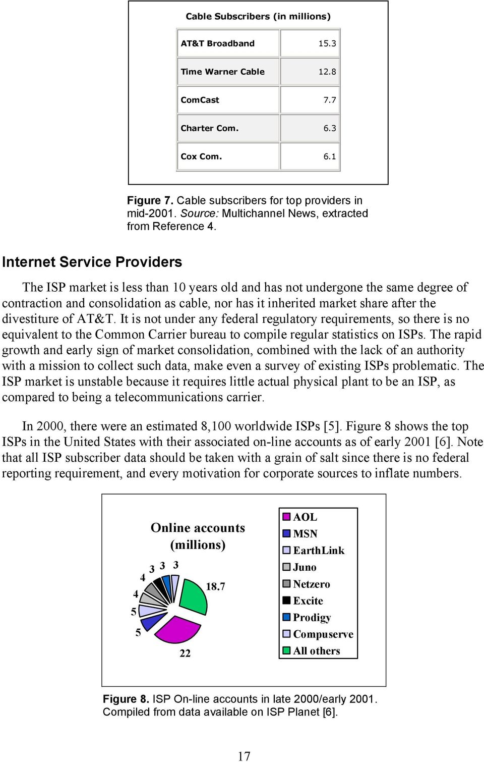 Internet Service Providers The ISP market is less than 10 years old and has not undergone the same degree of contraction and consolidation as cable, nor has it inherited market share after the