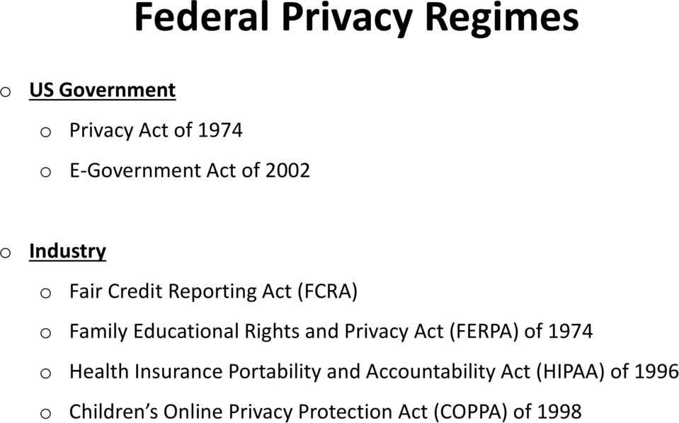 Rights and Privacy Act (FERPA) of 1974 o Health Insurance Portability and