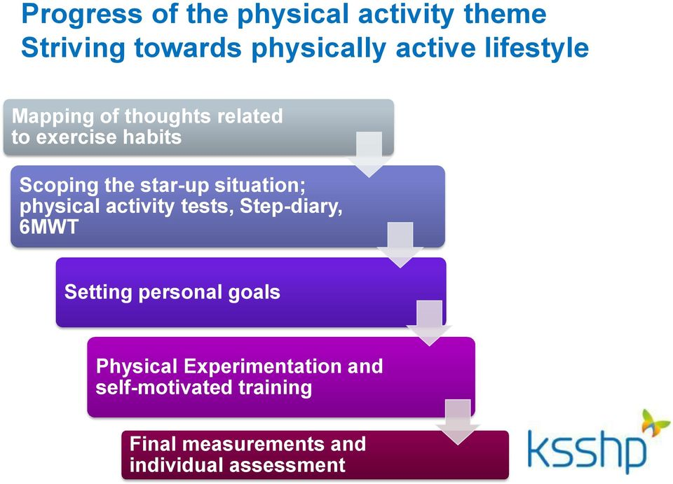 situation; physical activity tests, Step-diary, 6MWT Setting personal goals