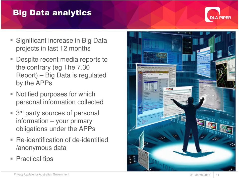 30 Report) Big Data is regulated by the APPs Notified purposes for which personal information collected 3 rd
