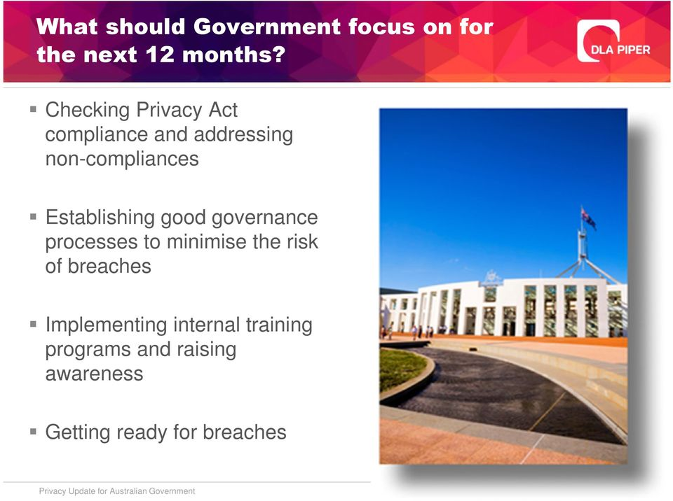 governance processes to minimise the risk of breaches Implementing internal