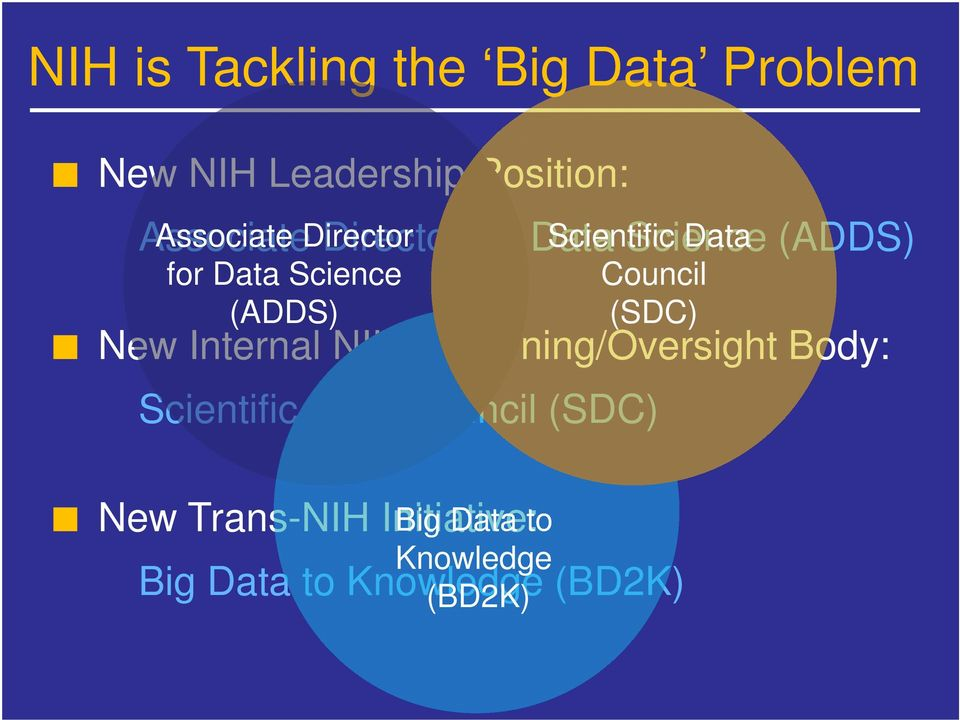 Internal NIH Governing/Oversight Body: Scientific Data Council (SDC) New