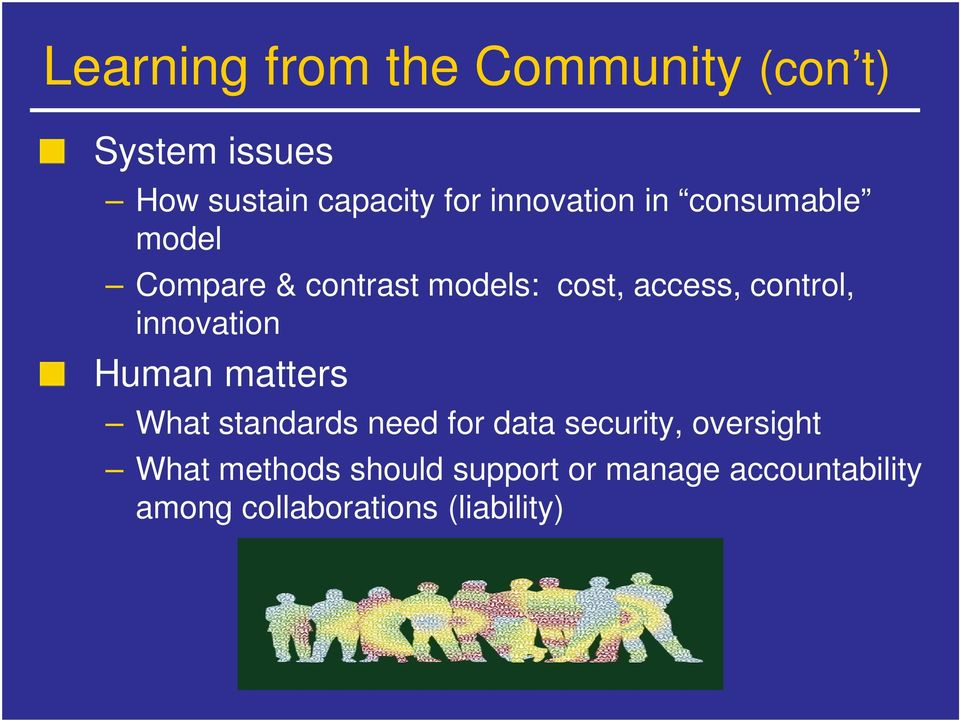 control, innovation Human matters What standards need for data security,