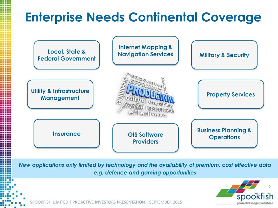Insurance GIS Software Providers Business Planning & Operations New applications only limited by