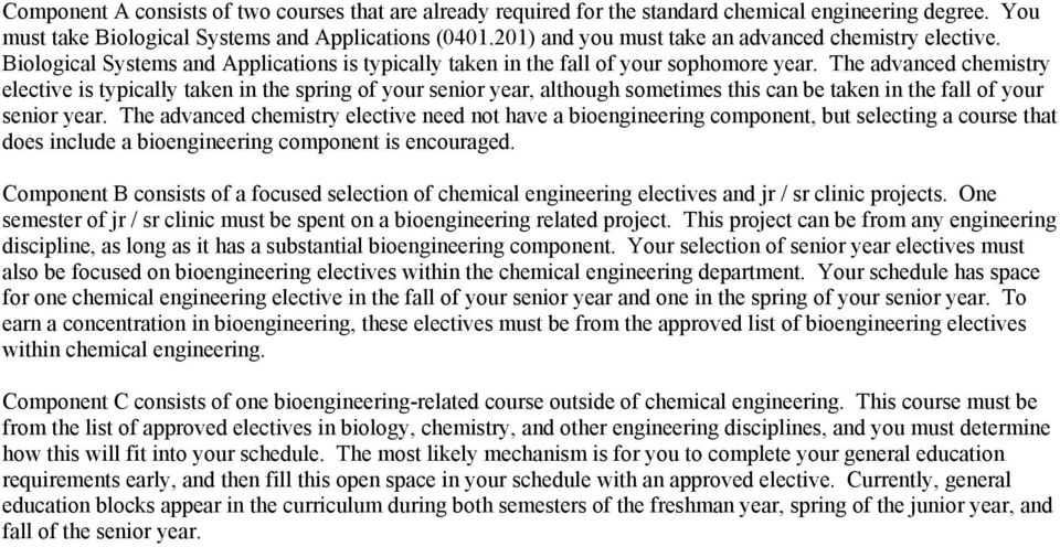The advanced chemistry elective is typically taken in the spring of your senior year, although sometimes this can be taken in the fall of your senior year.