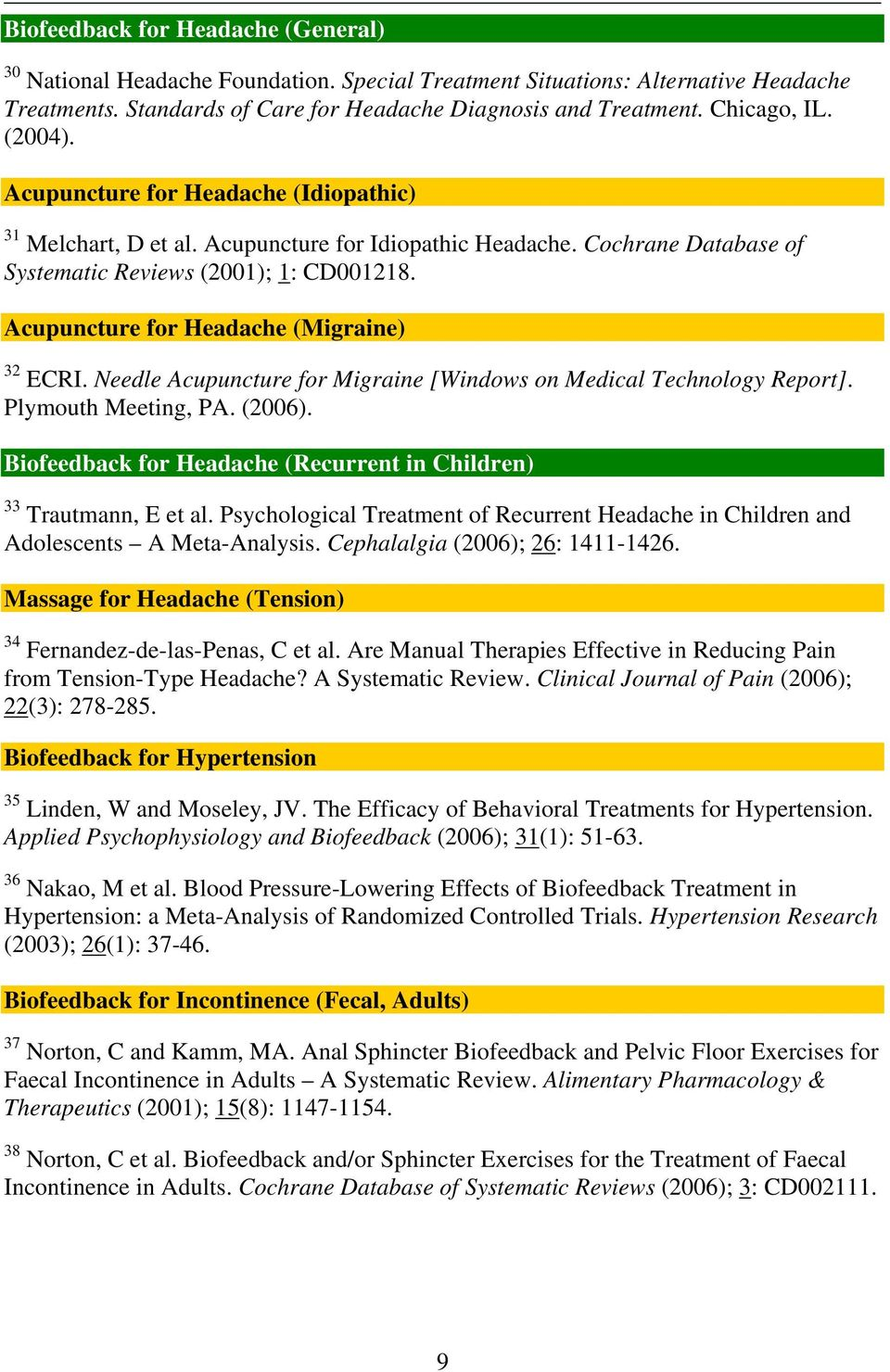 Acupuncture for Headache (Migraine) 32 ECRI. Needle Acupuncture for Migraine [Windows on Medical Technology Report]. Plymouth Meeting, PA. (2006).