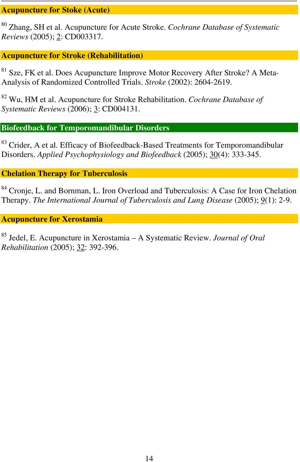 Cochrane Database of Systematic Reviews (2006); 3: CD004131. Biofeedback for Temporomandibular Disorders 83 Crider, A et al. Efficacy of Biofeedback-Based Treatments for Temporomandibular Disorders.
