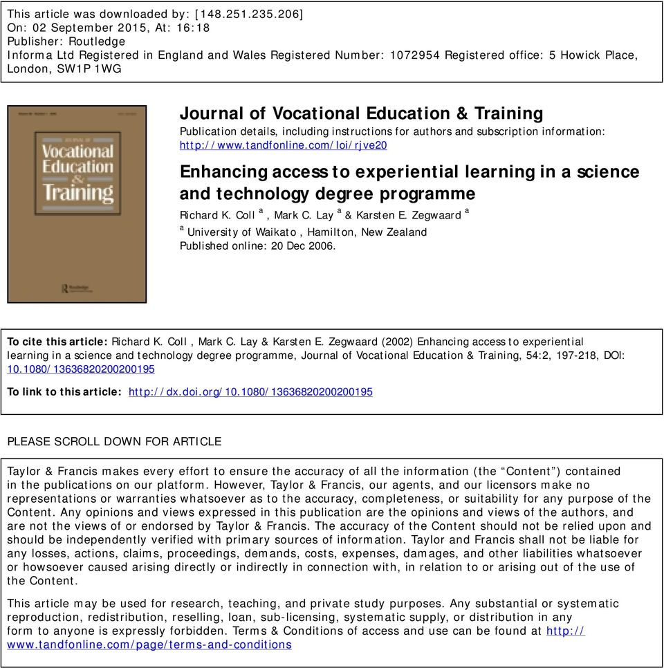 Vocational Education & Training Publication details, including instructions for authors and subscription information: http://www.tandfonline.