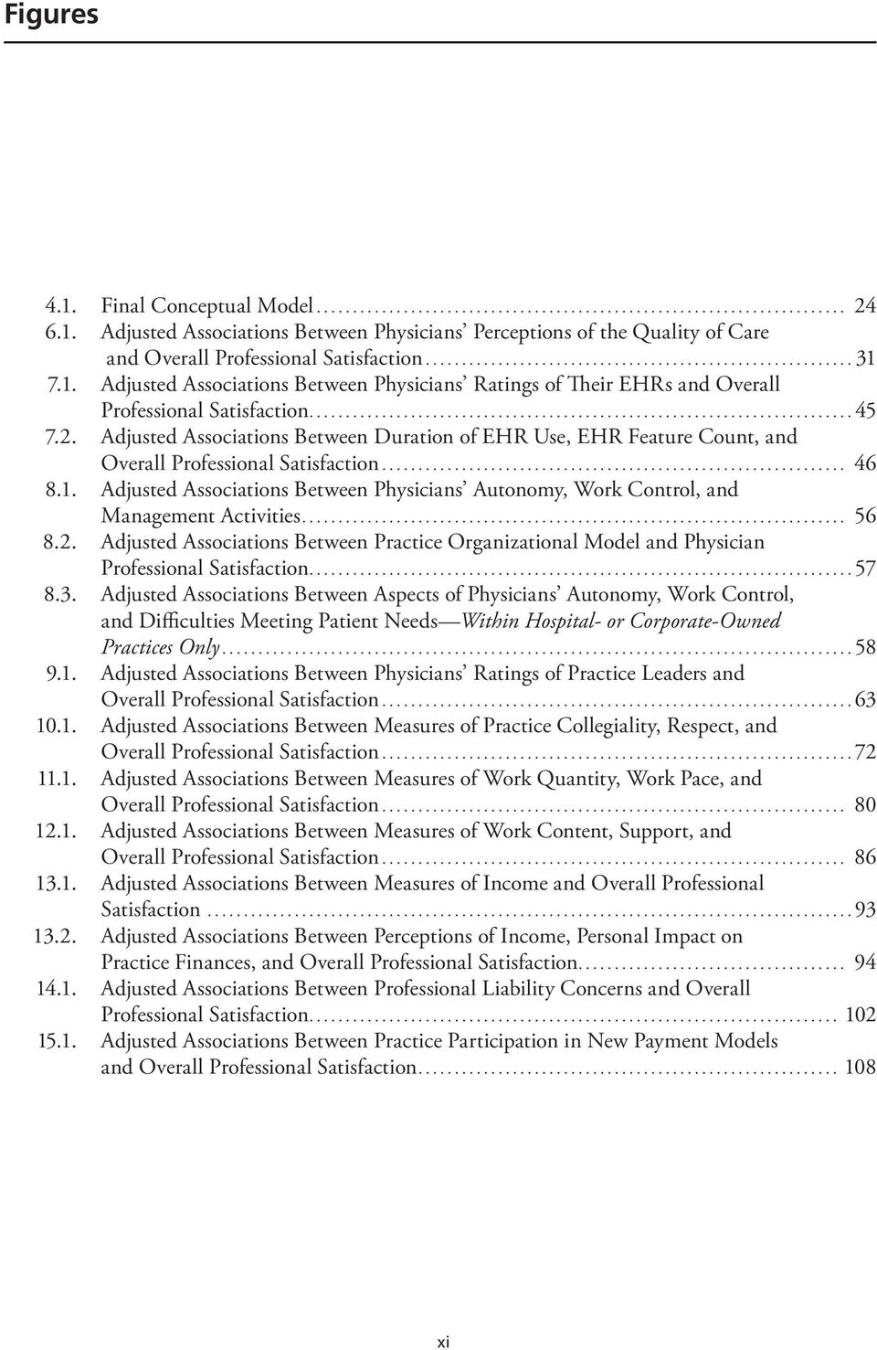 Adjusted Associations Between Physicians Autonomy, Work Control, and Management Activities... 56 8.2.