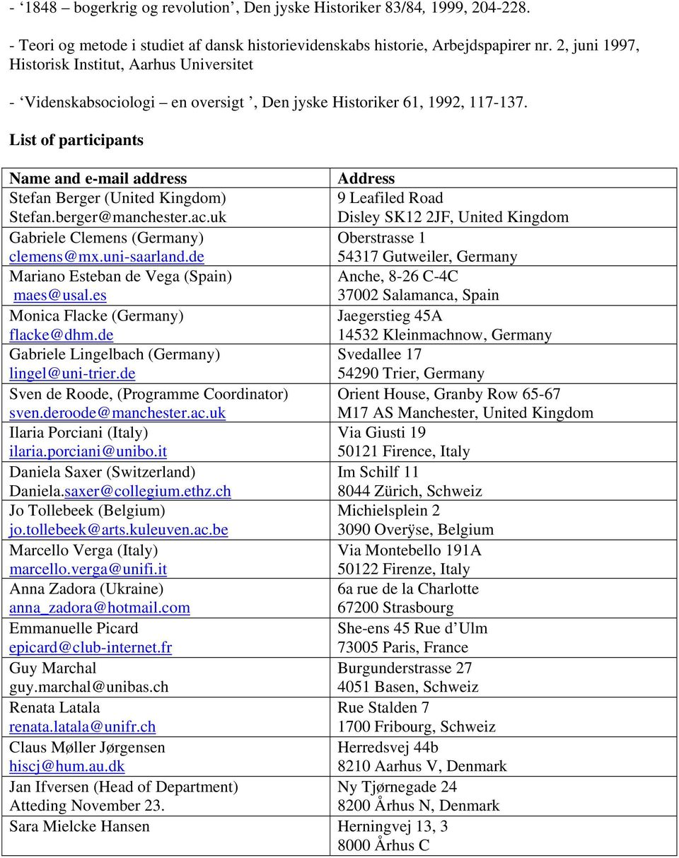 List of participants Name and e-mail address Address Stefan Berger (United Kingdom) 9 Leafiled Road Stefan.berger@manchester.ac.