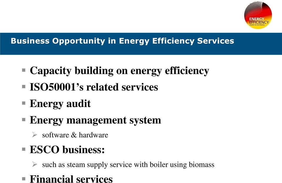 audit Energy management system software & hardware ESCO business: