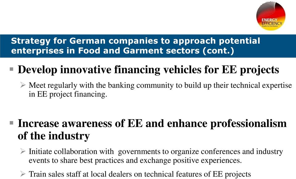in EE project financing.