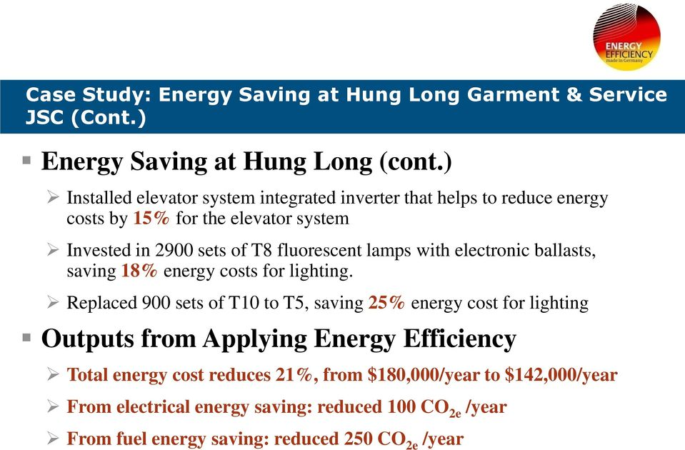 fluorescent lamps with electronic ballasts, saving 18% energy costs for lighting.