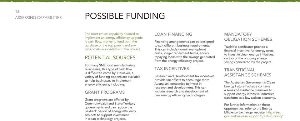However, a variety of funding options are available to help businesses to implement energy efficiency, including: Grant programs Grant programs are offered by Commonwealth and State/Territory