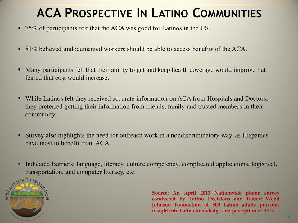 While Latinos felt they received accurate information on ACA from Hospitals and Doctors, they preferred getting their information from friends, family and trusted members in their community.
