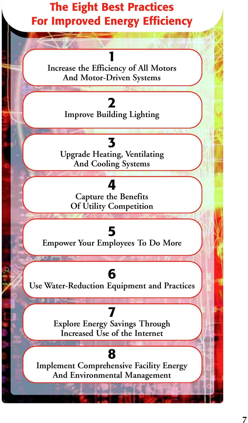 Utility Competition 5 Empower Your Employees To Do More 6 Use Water-Reduction Equipment and Practices 7 Explore